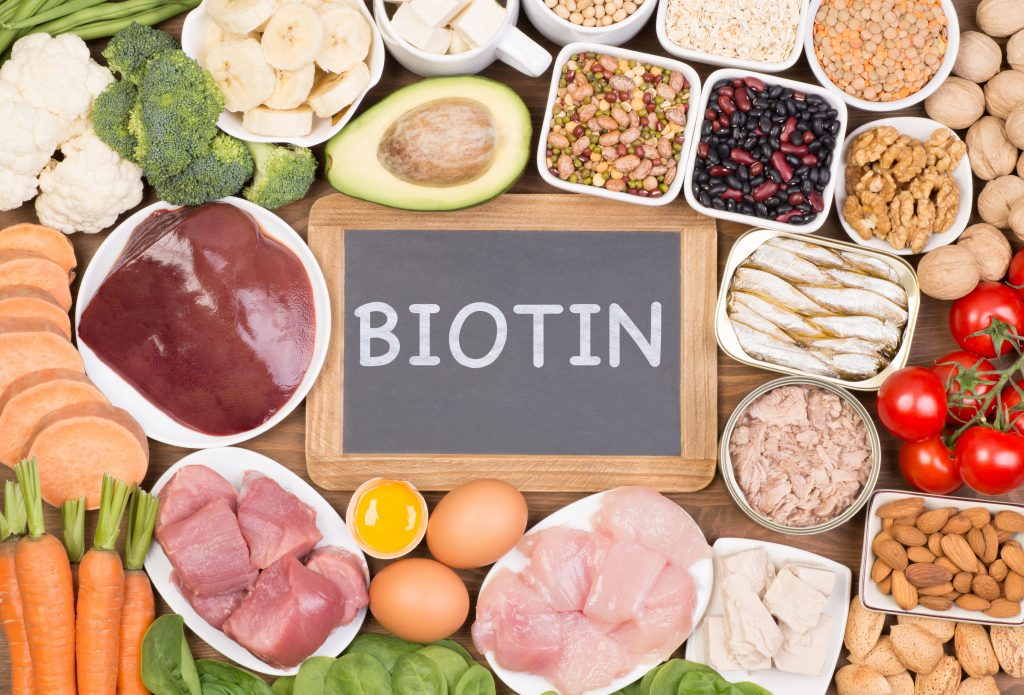 Biotin Can be found in several foods such as Liver, Eggs, Yeast, Salmon, Cheese, Avocado, Raspberries, Cauliflower and Whole Grain Bread