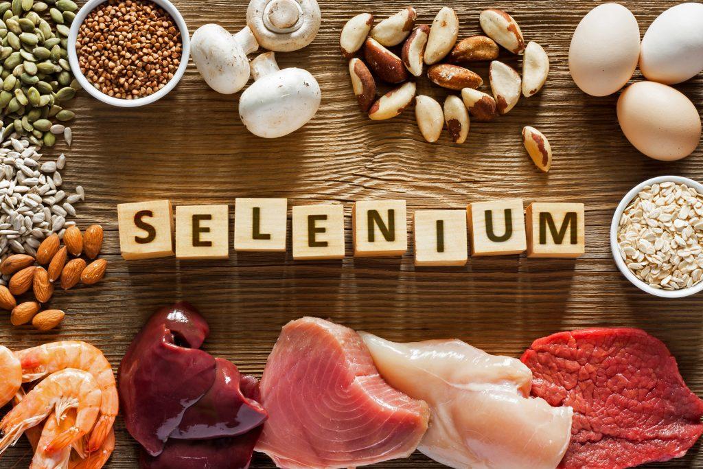 Foods High in Selenium as brasil nuts, tuna, shrimps, beef, liver, mushrooms, pumpkin seeds, sunflower seeds, buckwheat, oatmeal, almonds and eggs.